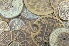 den asiatiska affären coins gammal valuta Fotografering för Bildbyråer