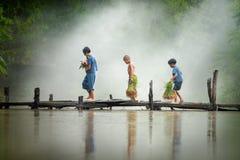 Den asiatiska barnbonden på ris korsar den wood bron för Get arkivbild