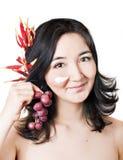 den asiatiska framsidan bär fruktt unga maskeringskvinnor Arkivbild