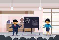 Den asiatiska hållande presentationen för den affärsmannen och kvinnan, skissar finansgrafer på Flip Chart, koreansk Businesspeop stock illustrationer
