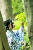 Den asiatiska kinesiska kvinnan i traditionella blått och vit Hanfu klär, spelar i en berömd trädgård, ställning under lönnträdet Arkivfoto