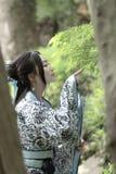 Den asiatiska kinesiska kvinnan i traditionella blått och vit Hanfu klär, spelar i en berömd trädgård, ställning under lönnträdet Royaltyfri Foto