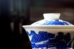 den asiatiska koppen dekorerade tea Arkivbild