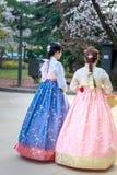 Den asiatiska koreanska kvinnan klädde Hanbok i traditionell klänning som går i den Gyeongbokgung slotten fotografering för bildbyråer