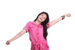 Den asiatiska kvinnan känner sig fritt Royaltyfri Foto