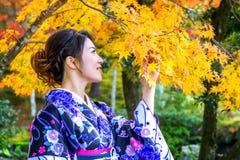 Den asiatiska kvinnan som bär den japanska traditionella kimonot i höst, parkerar japan Royaltyfri Bild