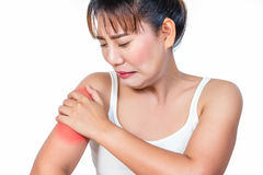 Den asiatiska kvinnan som har armen, smärtar Arkivfoto