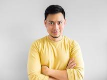 Den asiatiska mannen tänker Fotografering för Bildbyråer