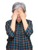 den asiatiska räkningen eyes middleagekvinnan Arkivbild