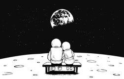 Den astronautflickan och pojken sitter på bänk Royaltyfri Fotografi
