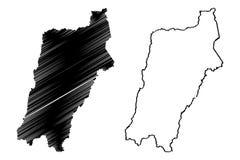 Den Atacama regionrepubliken av Chile, administrativa uppdelningar av illustrationen för den Chile översiktsvektorn, klottrar ski stock illustrationer