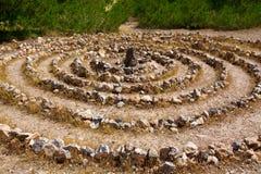 Den Atlantis spiralen undertecknar in Ibiza med stenar på jord Arkivbild