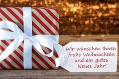 Den atmosfäriska gåvan Weihnachten Neues Jahr betyder nytt år för jul Arkivbilder