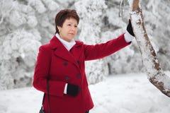 Den attraktiva äldre kvinnan i en snöig vinter parkerar Arkivbild