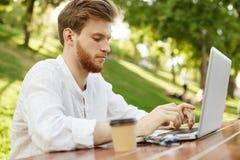 Den attraktiva allvarliga ljust rödbrun europeiska mannen i stilfull kläder dricker kaffe som arbetar fast beslutsamt utanför på  Arkivbilder