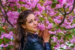 Den attraktiva flickan med lockigt h?r i den vita kl?nningen g?r i den blomningsakura tr?dg?rden bland rosa blommor royaltyfria bilder
