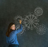 Kvinnan som är tänkande med roterande, utrustar kuggar eller utrustar Arkivfoton