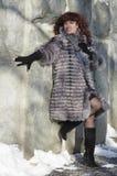 Den attraktiva kvinnan i ett pälslag från silverräven är photog Royaltyfri Bild