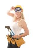 den attraktiva leverantören tools kvinnan fotografering för bildbyråer