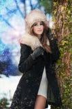 Den attraktiva unga kvinnan i en vinter danar skjutit Fotografering för Bildbyråer