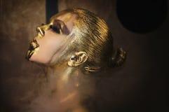 Den attraktiva varma kvinnan med härlig vätskeguld på hennes framsida och kropp poserar mörk bakgrund i rök, stängda ögon arkivbilder