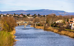 Den Aude floden i Carcassonne Royaltyfri Fotografi