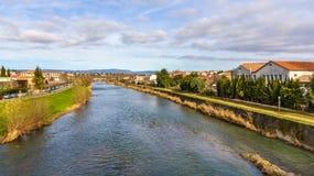 Den Aude floden i Carcassonne Royaltyfri Foto