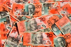den australiensiska dollaren bemärker tjugo royaltyfri fotografi