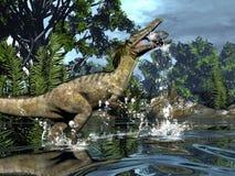 Den Austroraptor dinosaurien som fiskar -3D, framför stock illustrationer