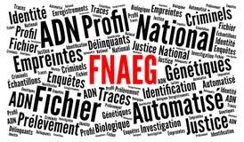 Den automatiserade nationella mappen av genetiska tryck i Frankrike kallade FNAEG i ordmoln för franskt språk stock illustrationer