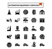 Den automatiska symbolen för utrustning- och serviceskåradesignen ställde in stock illustrationer