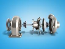 Den automatiska turboturbinen 3d framför på blått vektor illustrationer