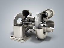 Den automatiska turboturbinen 3d framför på grå färger stock illustrationer