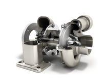 Den automatiska turboturbinen 3d framför på vit vektor illustrationer