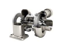 Den automatiska turboturbinen 3d framför på vit ingen skugga vektor illustrationer