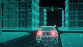 Den autonoma körande bilen förbinder systemet för kontroll för information om trafik, internet av sakerbegreppet royaltyfri illustrationer