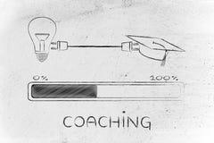 Den avläggande av examenlock & lightbulben förband av proppen som arbeta som privatlärare åt arkivbild