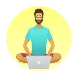 Den avslappnande mannen på arbete med en yoga poserar stil Arkivbilder