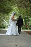 den away brudgummen går arkivfoton