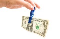 den away dollaren ger en Arkivfoton