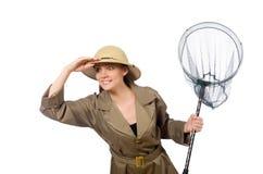 Den bärande safarihatten för kvinna på vit Royaltyfria Bilder
