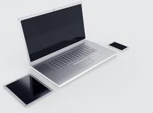 Den bärbar datorminnestavlan och smartphonen med svart tömmer skärmar Royaltyfri Bild