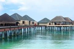 Den bästa all-inklusive Maldiverna vatten-villan tillgriper i Maldiverna Arkivfoton