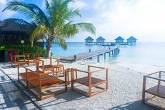Den bästa all-inklusive Maldiverna vatten-villan tillgriper i Maldiverna Royaltyfri Fotografi