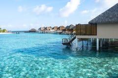 Den bästa all-inklusive Maldiverna vatten-villan tillgriper i Maldiverna Arkivbild