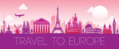 Den bästa berömda gränsmärket av Europa, konturdesignrosa färg färgar royaltyfri illustrationer