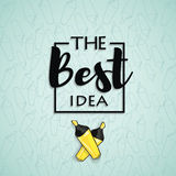 Den bästa idéinskriften i den svarta asken på en blå bakgrund med en gul markörpenna Royaltyfri Foto