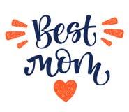 Den bästa mammahanden skriver isolerad enkel kalligrafi med hjärta- och stråldekoren royaltyfri illustrationer