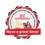 Den bästa restaurangen Få den levererade lunch och matställen stock illustrationer