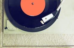 Den bästa sikten av den gamla skivspelaren, bild är retro som filtreras Royaltyfri Bild
